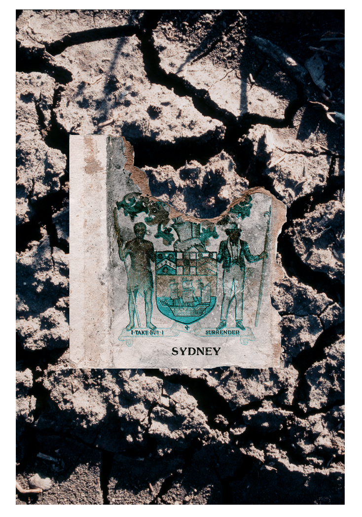 "While we were taking time sequence landscapes at the Blue mountains I found this on the ground. An old matchbox with the 1908 Coat of Arms for the City of Sydney. It features images of the First Fleet used by the British government in 1788 to transport its first convicts to the penal colony of New South Wales. An Aboriginal man and a British sailor stand on equal footing, but do the words of the motto, ""I take, but I surrender"", apply to both, or just the white man? And what exactly does this mean?"