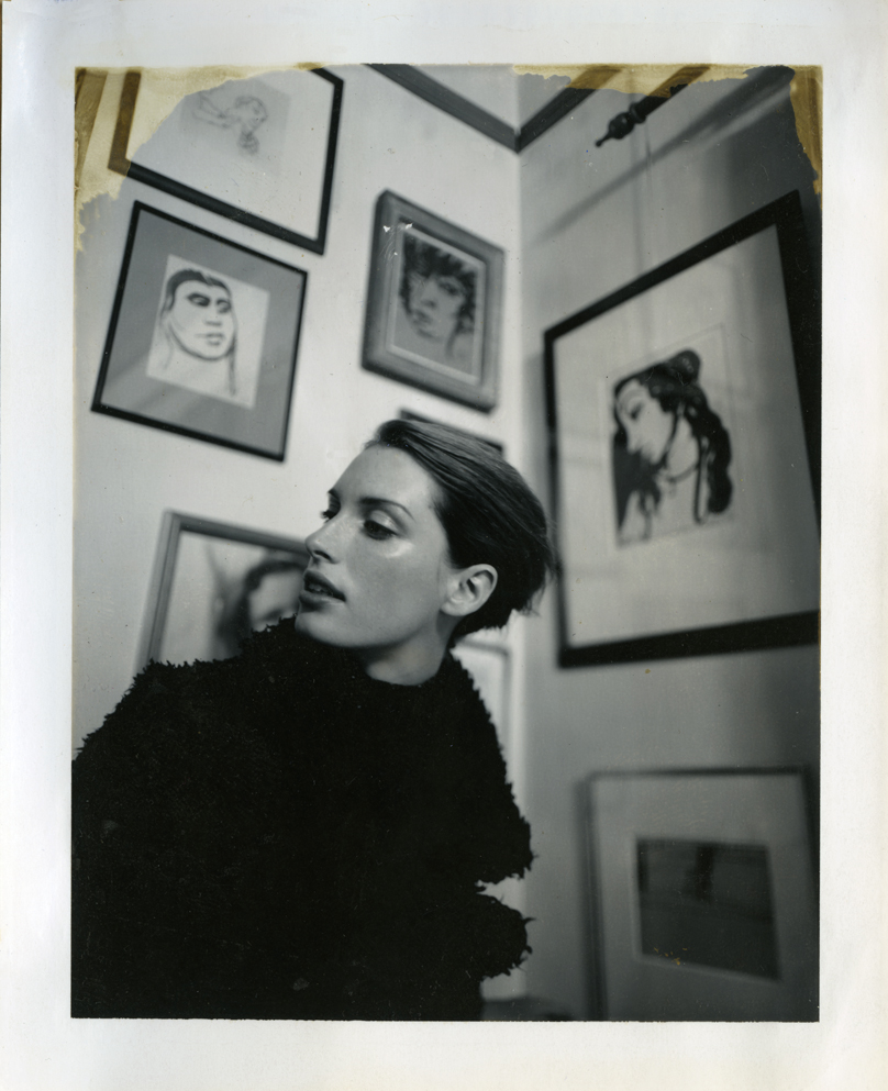 A 5x4 Polaroid from a fashion story I shot for Australian Vogue at Frannie's home. All the pictures in the background are by her brother Brett.