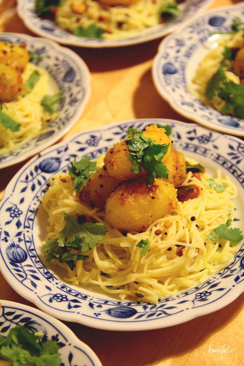 Lemon Rice Noodles with a Spicy Potato Roast