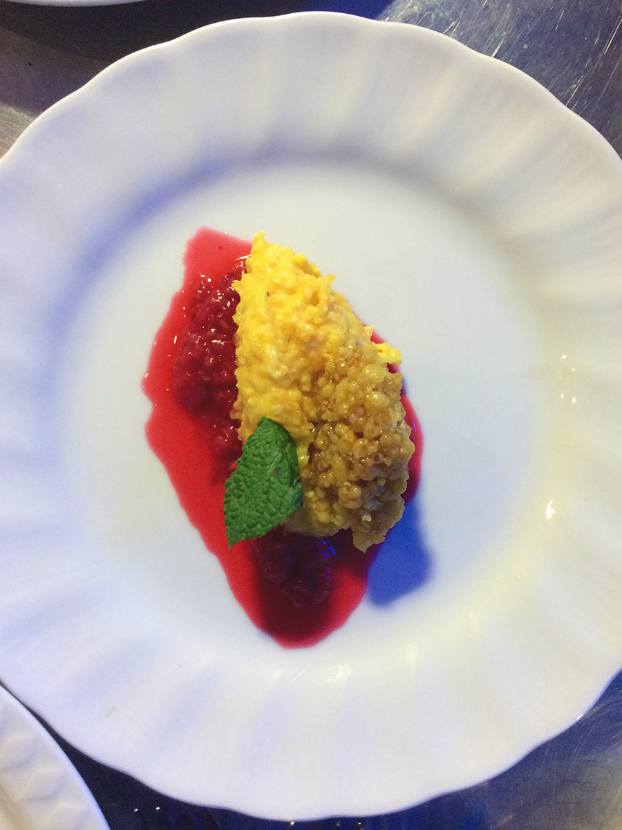 Butternut Squash Halwa with Raspberry Compote & Boondi Brittle