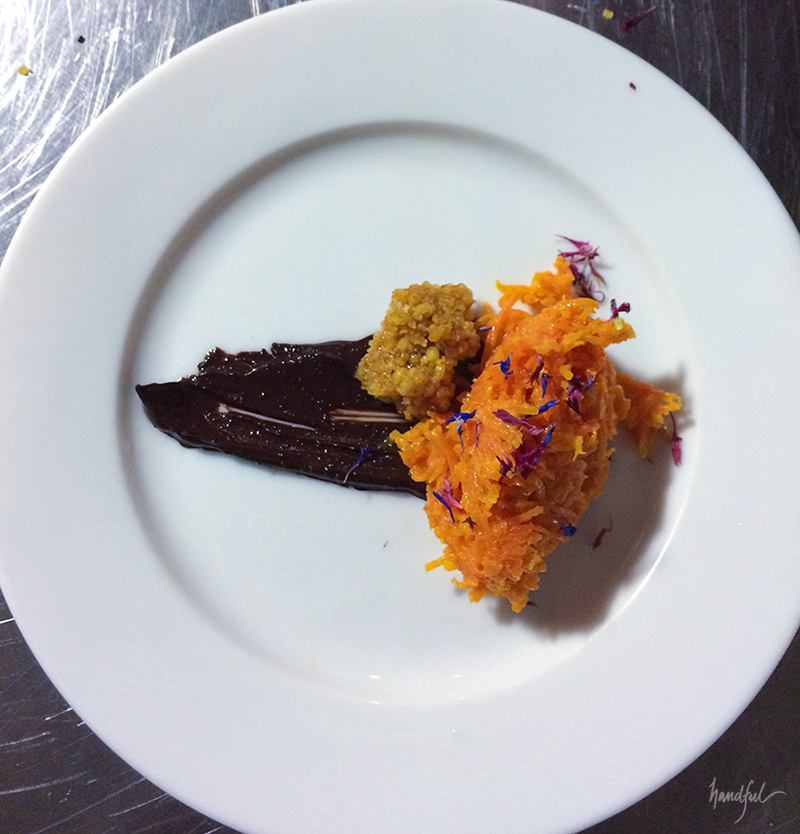 The Carrot Halwa with Dark Chocolate and Boondi Brittle