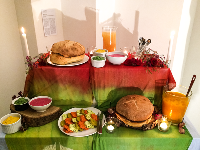 The gorgeous altar-like spread at the Artists and Curators Dinner, created by Bianca Bellani and Yildau ter Beek