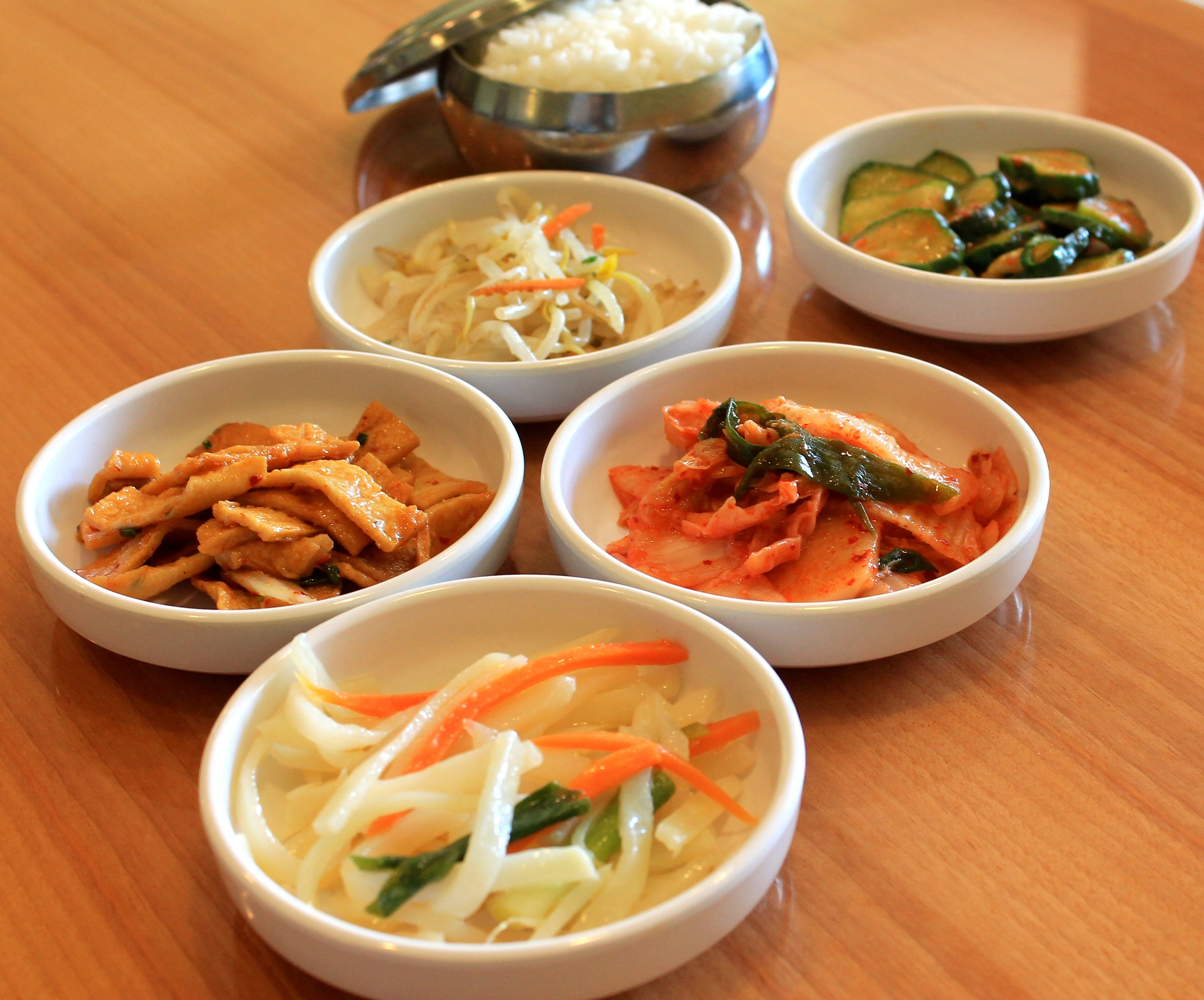 Traditional side dishes or  banchan  accompany every meal.