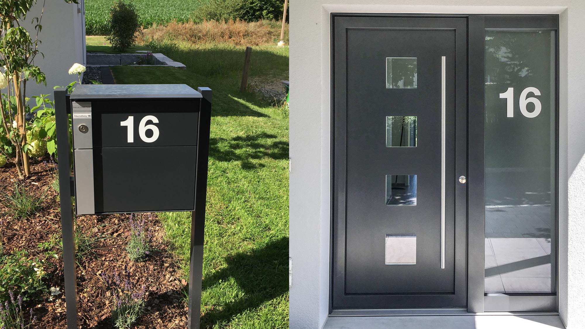 Folien Nummern auf Tür und Briefkasten