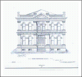 Architectural drawing of old Sonoma County Government Building.