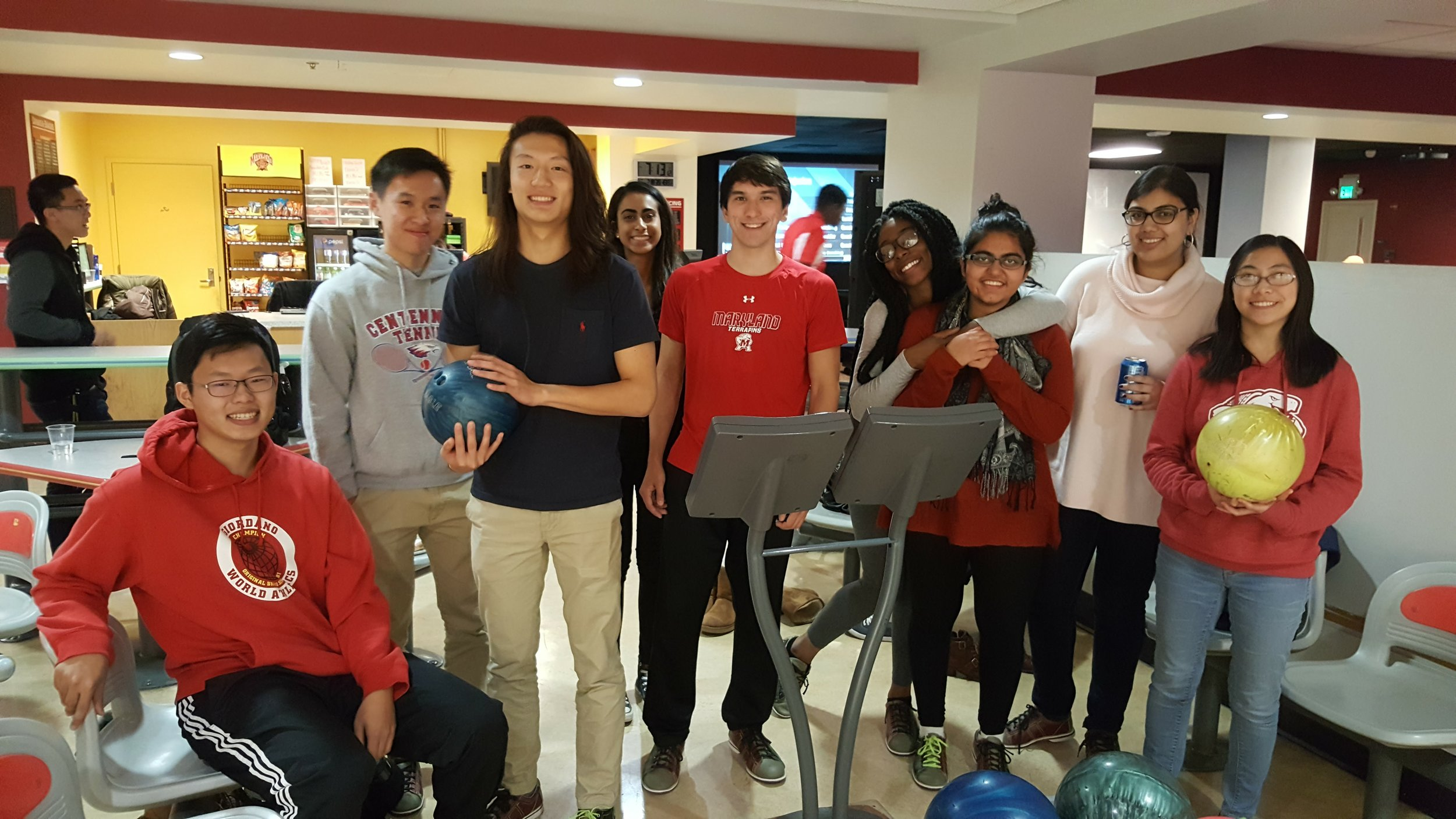 ILS students at a bowling alley.