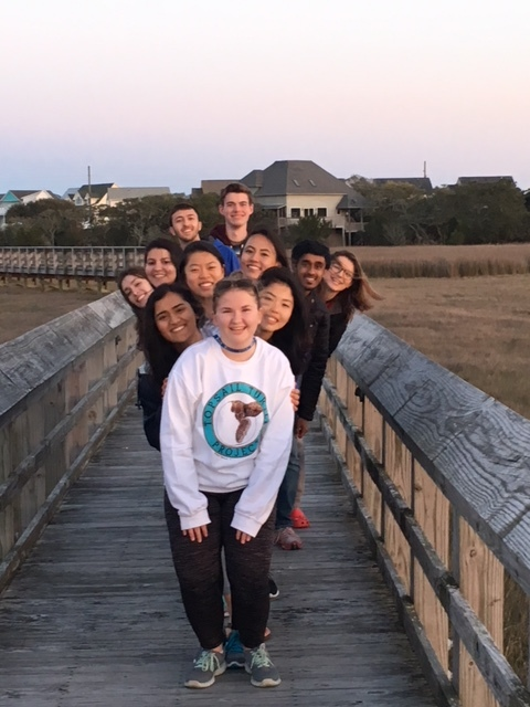 Picture of ILS students on a beach on Topsail Island, NC.