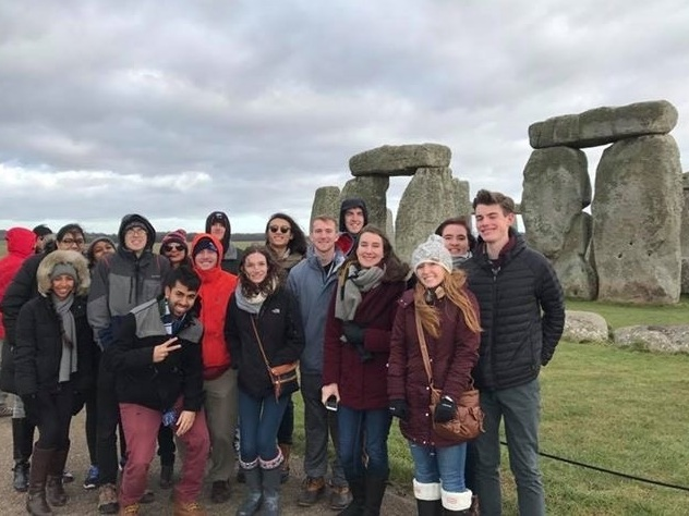 Picture of students in front of Stonehenge on the British Masters of Science Study Abroad course.