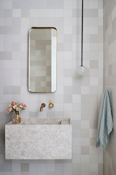 The grout and tile colors are a near match. I love the color nuance of the square ceramic tiles here, too. (   source   )