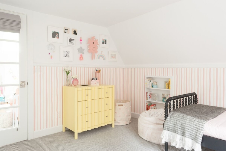 susie-novak-interiors-design-makeover-liitle-girls-room-oakland-striped-wallpaper