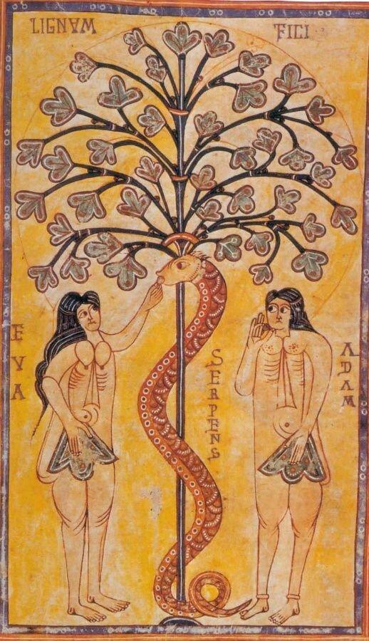 La tentación de Adán y Eva  (España, siglo X)