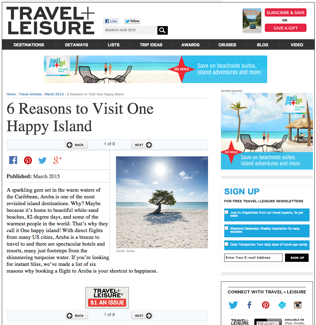 Travel + Leisure Promoted Article —  CLICK TO READ