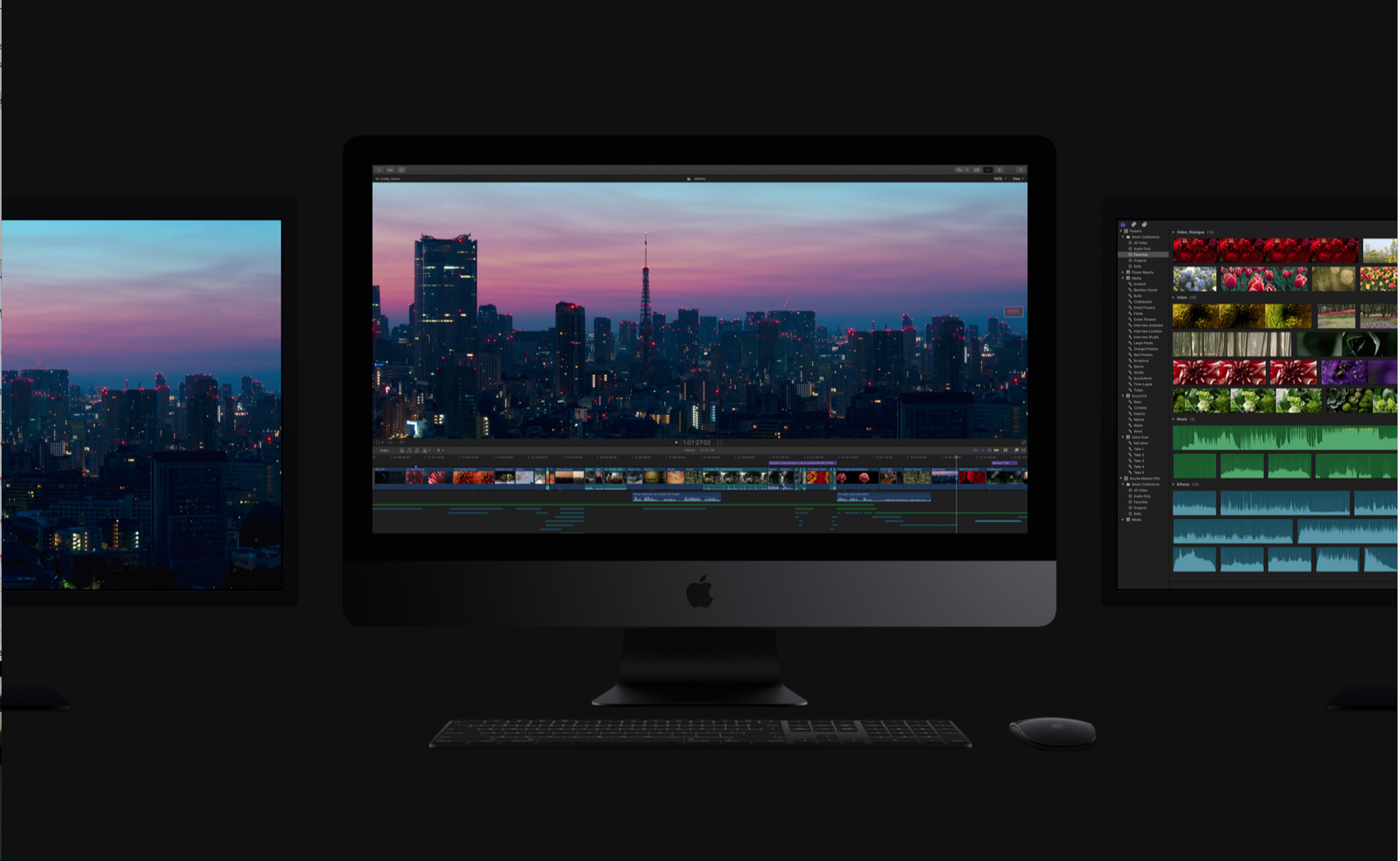iMac Pro with two 5K displays running FCPX