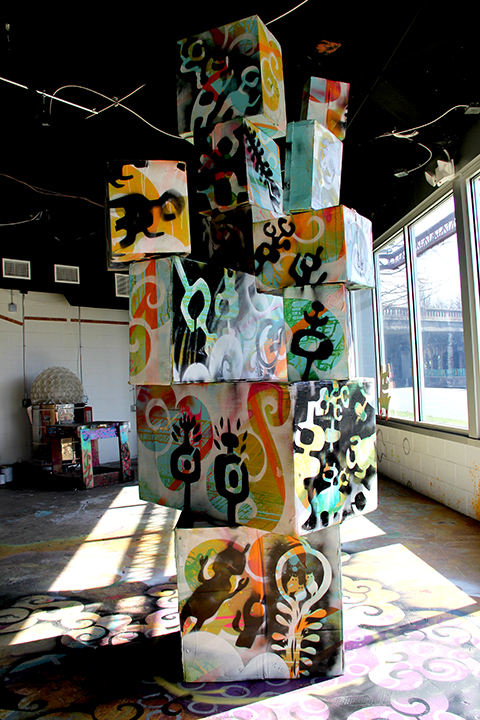 Adam Peele's boxes and floor detail.