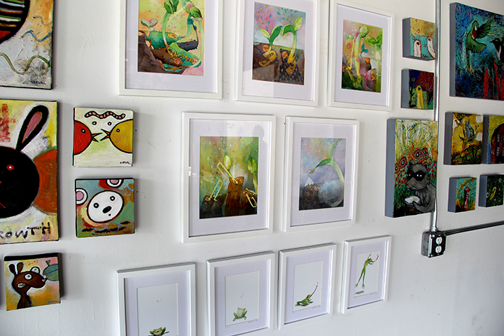 Jee's watercolor paintings flanked by Keith and Anna's.