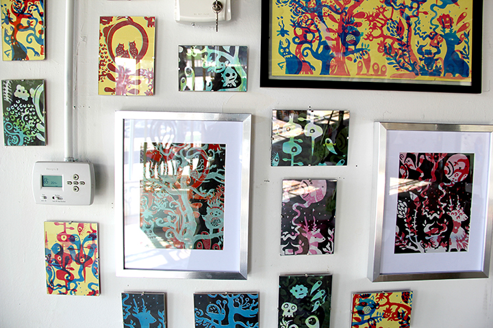 Adam Peele's stenciled creations made from some group drawings we did.