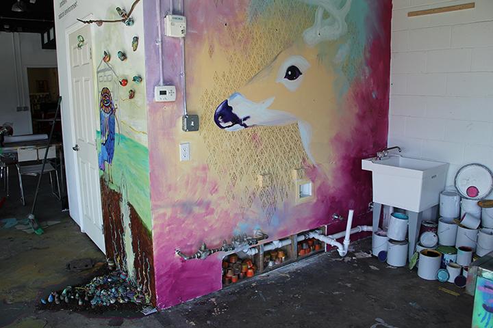 Deer mural by Jenn Hales.