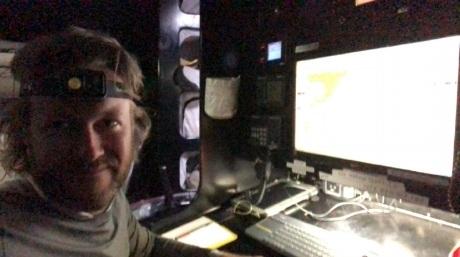 Justin Shaffer in the nav station of RIO100