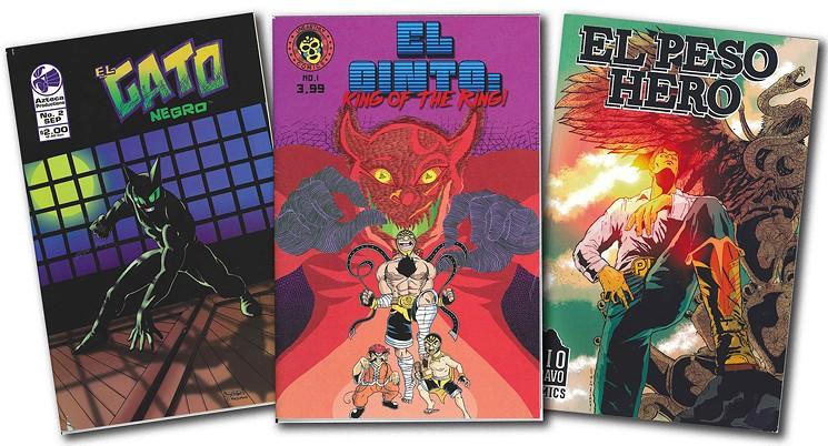 Comic books El Gato Negro, El Cinto and El Peso Hero   courtesy Richard Dominguez, Jose Garcia, Jose Ramirez and Hector Rodriguez