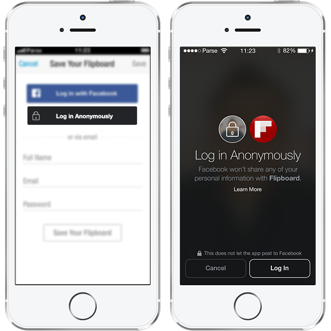 Facebook Authenticate presents a modal login that clearly states that their Facebook information will not be shared with the app.