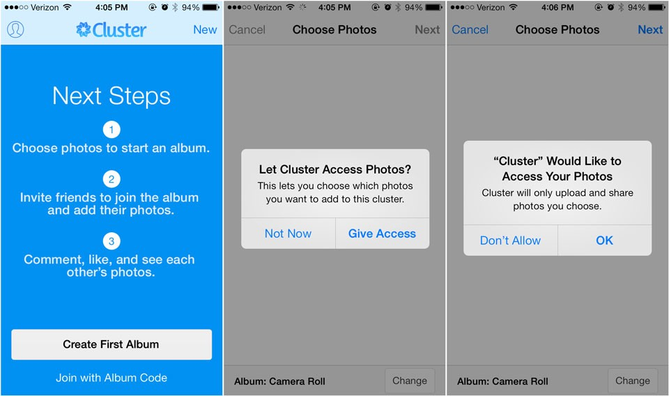 iOS Dialog used for permissions (source: Cluster as cited in Medium)