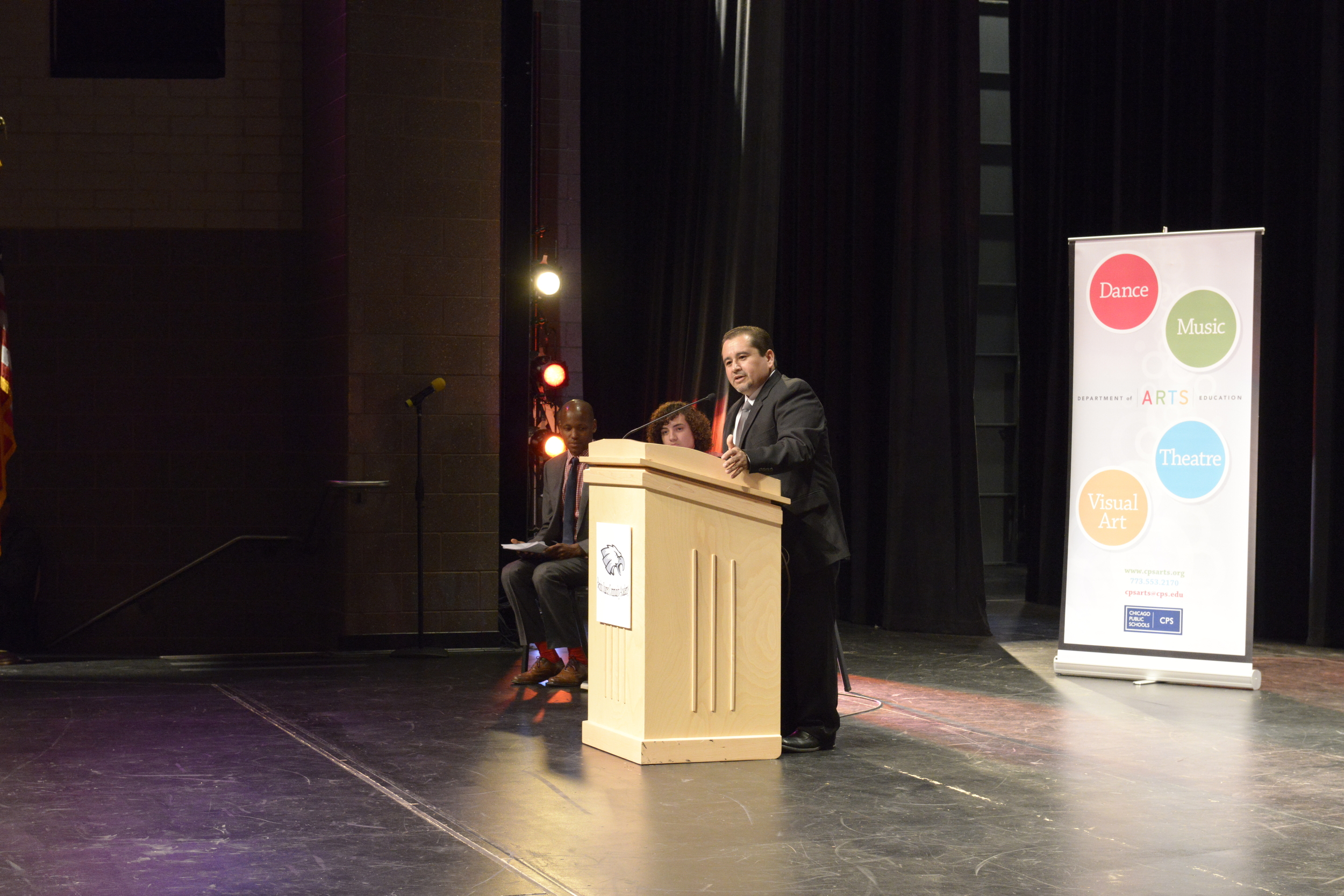 Benito Juarez Community Academy Principal  Juan Ocon welcomes guests to the launch event celebrating  Be Creative: The Campaign for Creative Schools