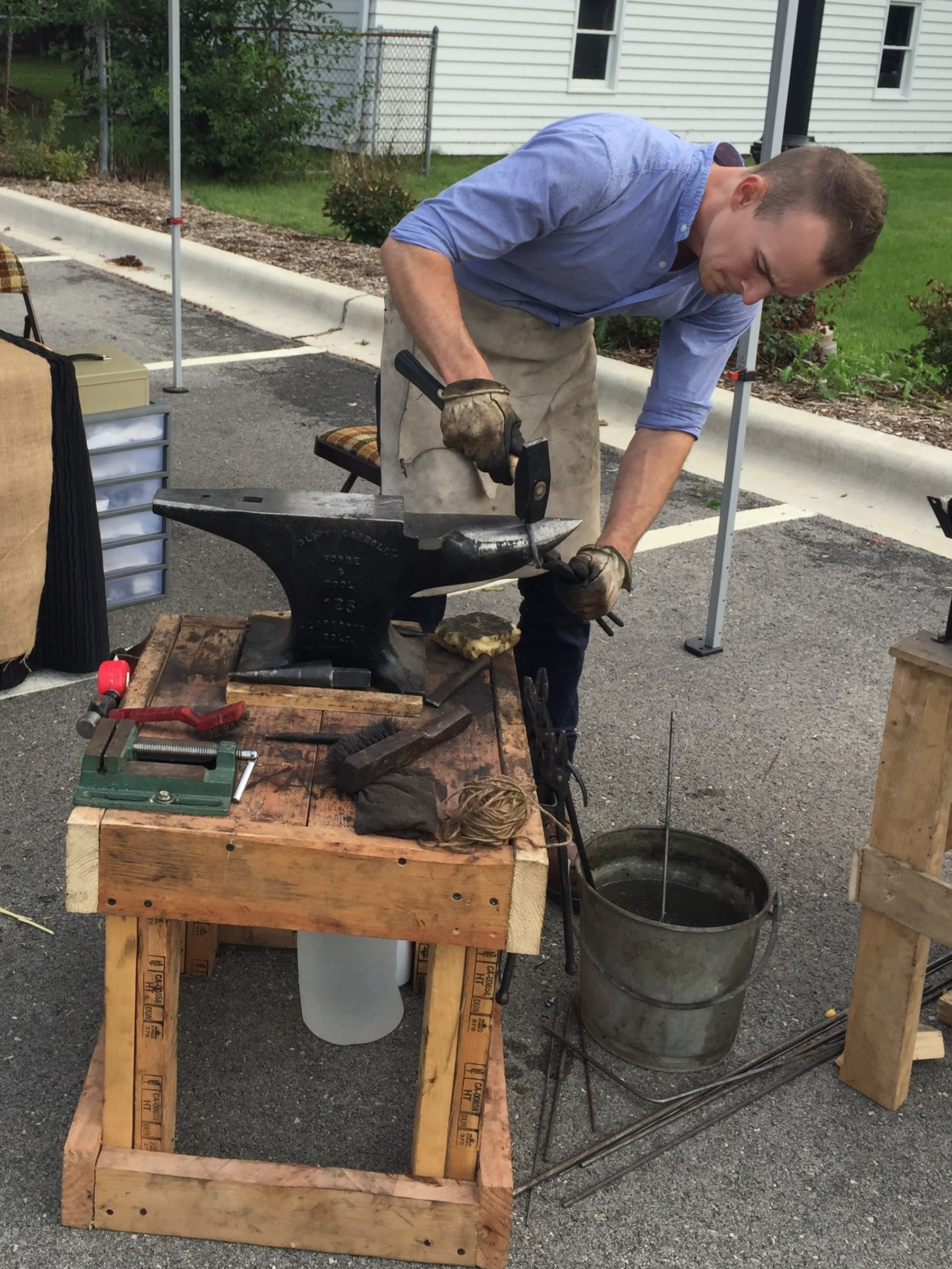 Justin demonstrating his craft at a recent craft fair in Plainfield.