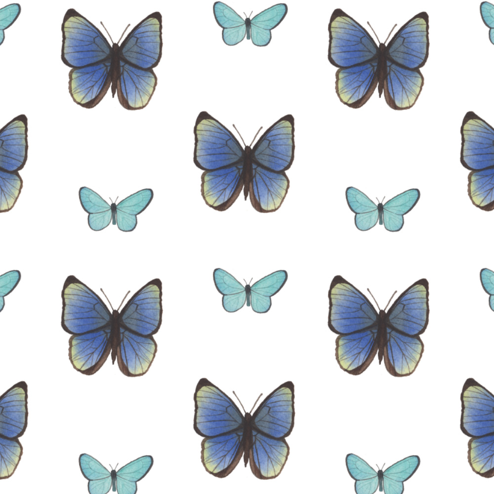 Watercolor Blue Butterflies Fabric Design