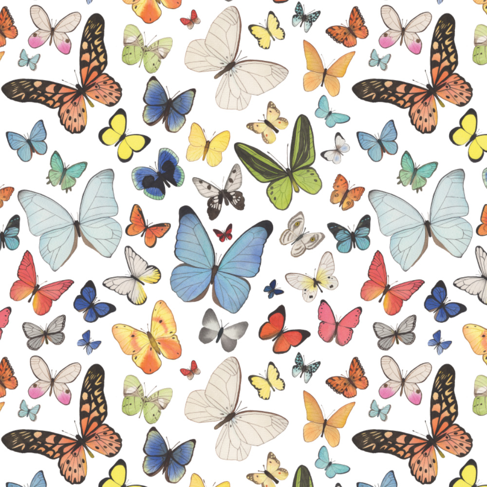 Watercolor Butterflies Fabric Design