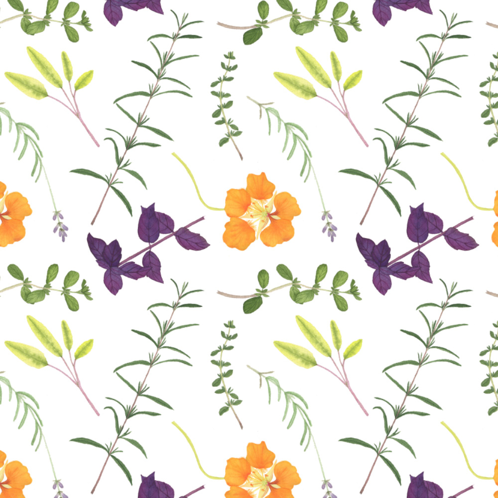 Watercolor Herb Garden Fabric Design