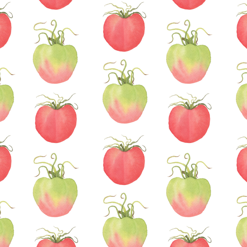 Watercolor Tomatoes Fabric Design