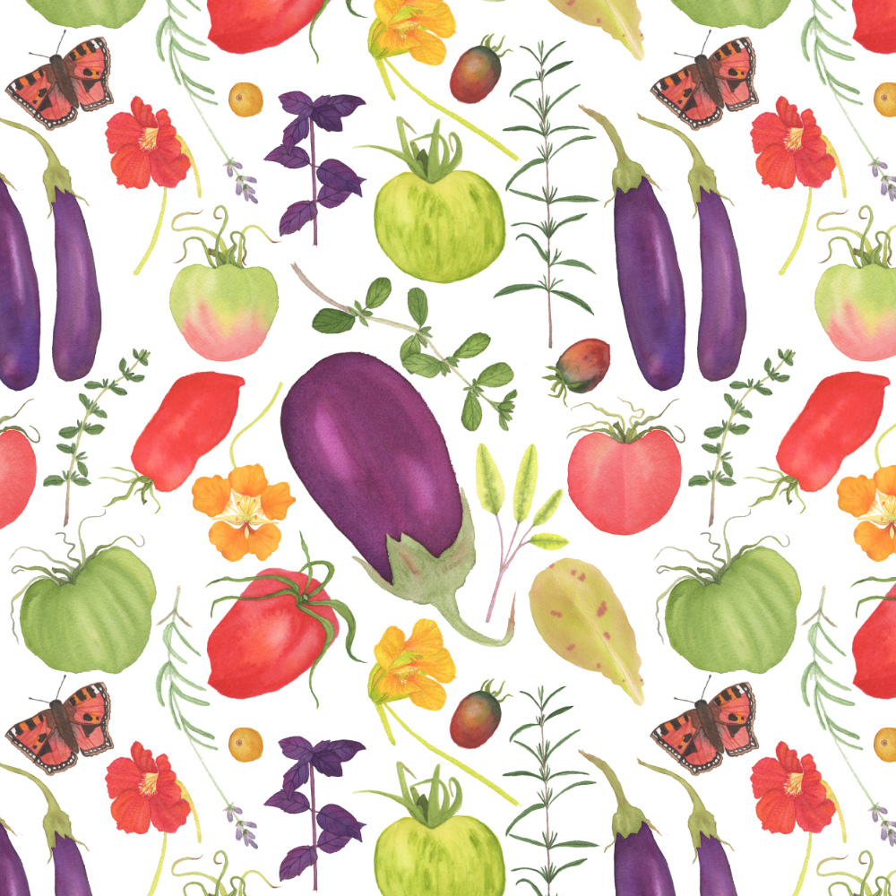 Watercolor Vegetable Garden Fabric Design
