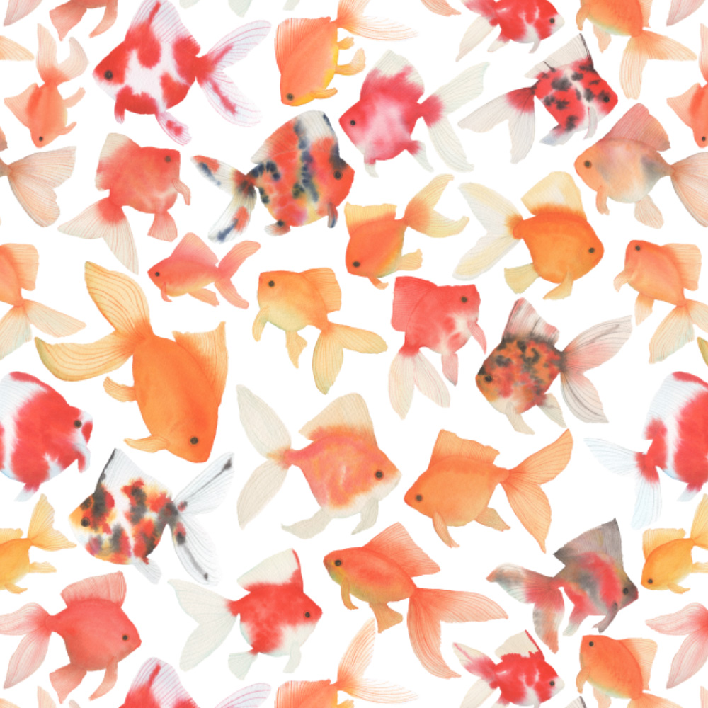Watercolor Goldfish Fabric Design