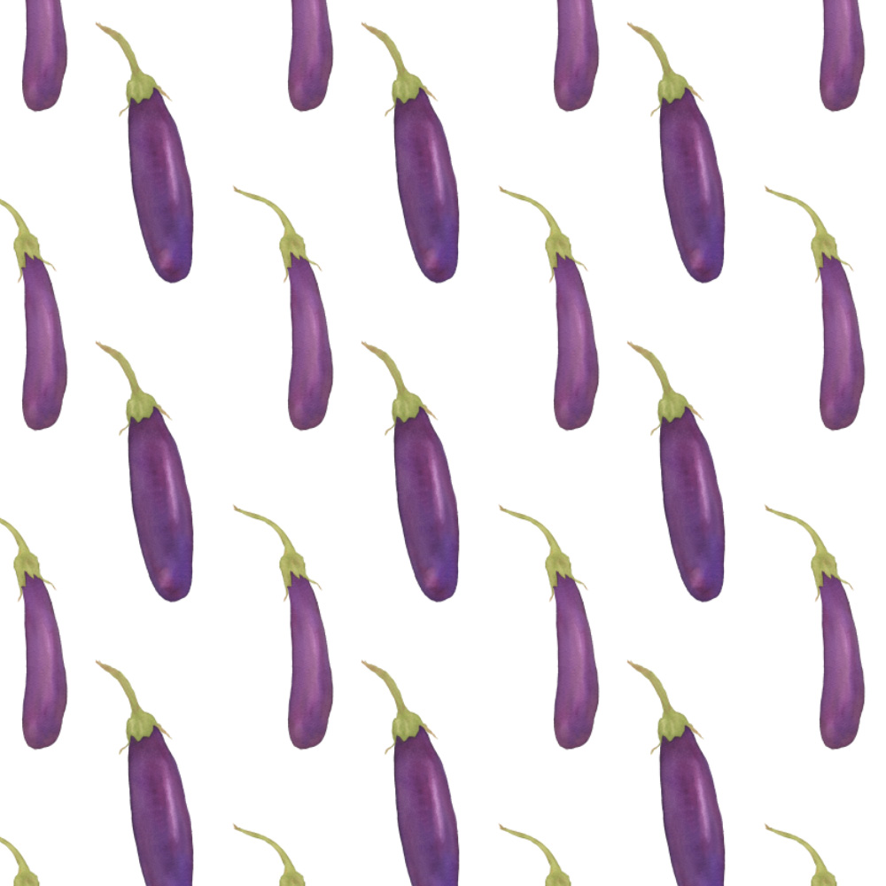 Watercolor Eggplants Fabric Design