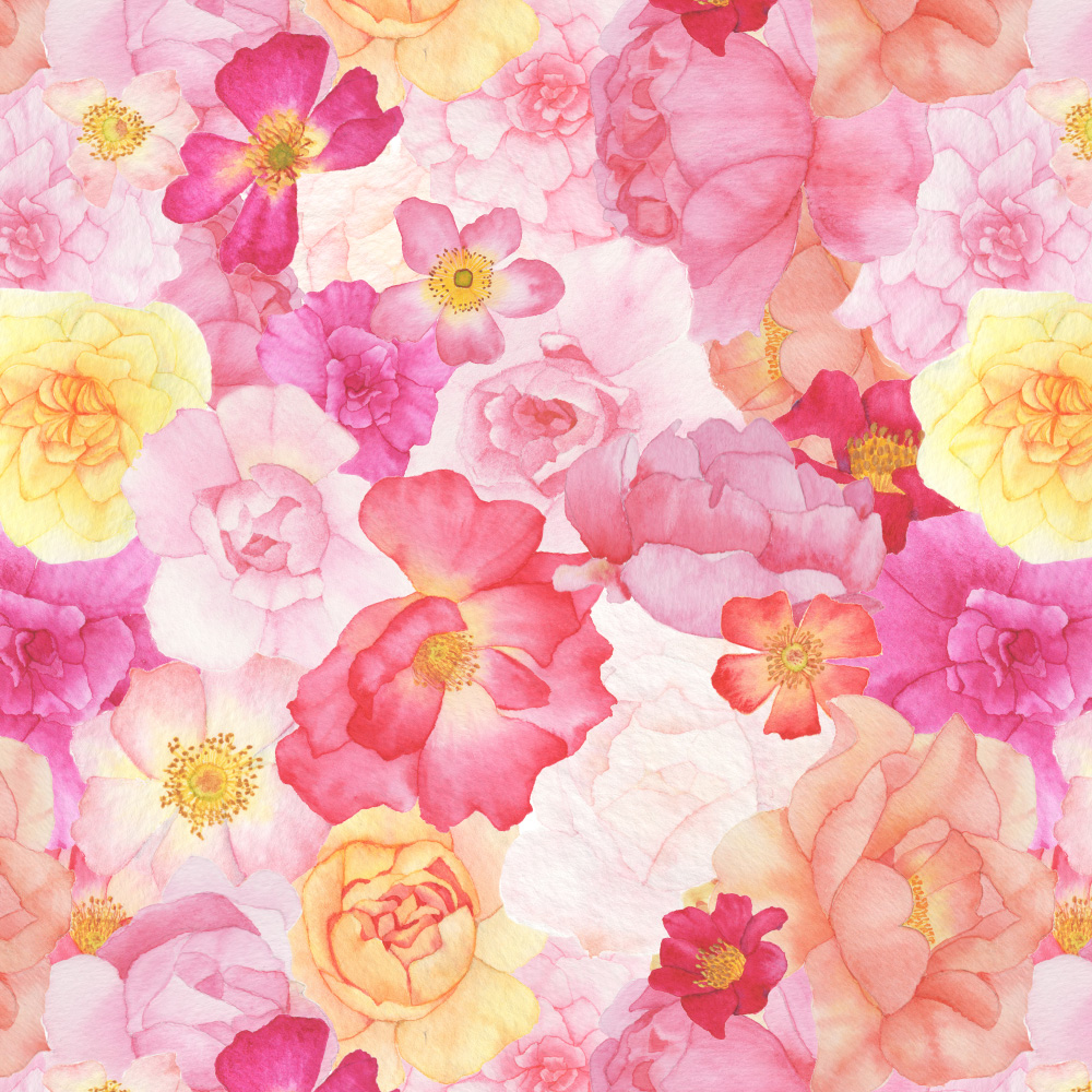 Watercolor Roses Fabric Design