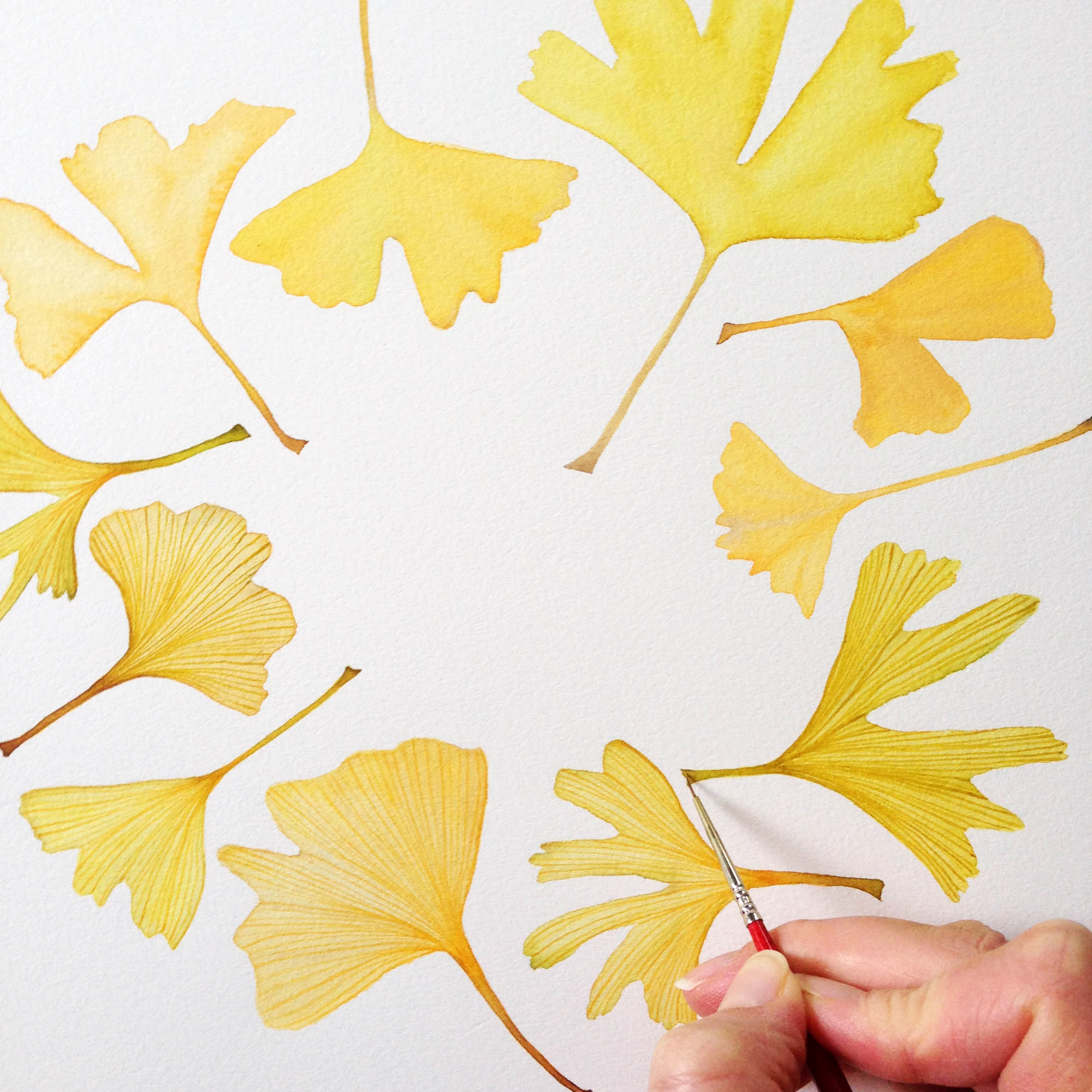 Watercolor Gingko Leaf Painting in Process