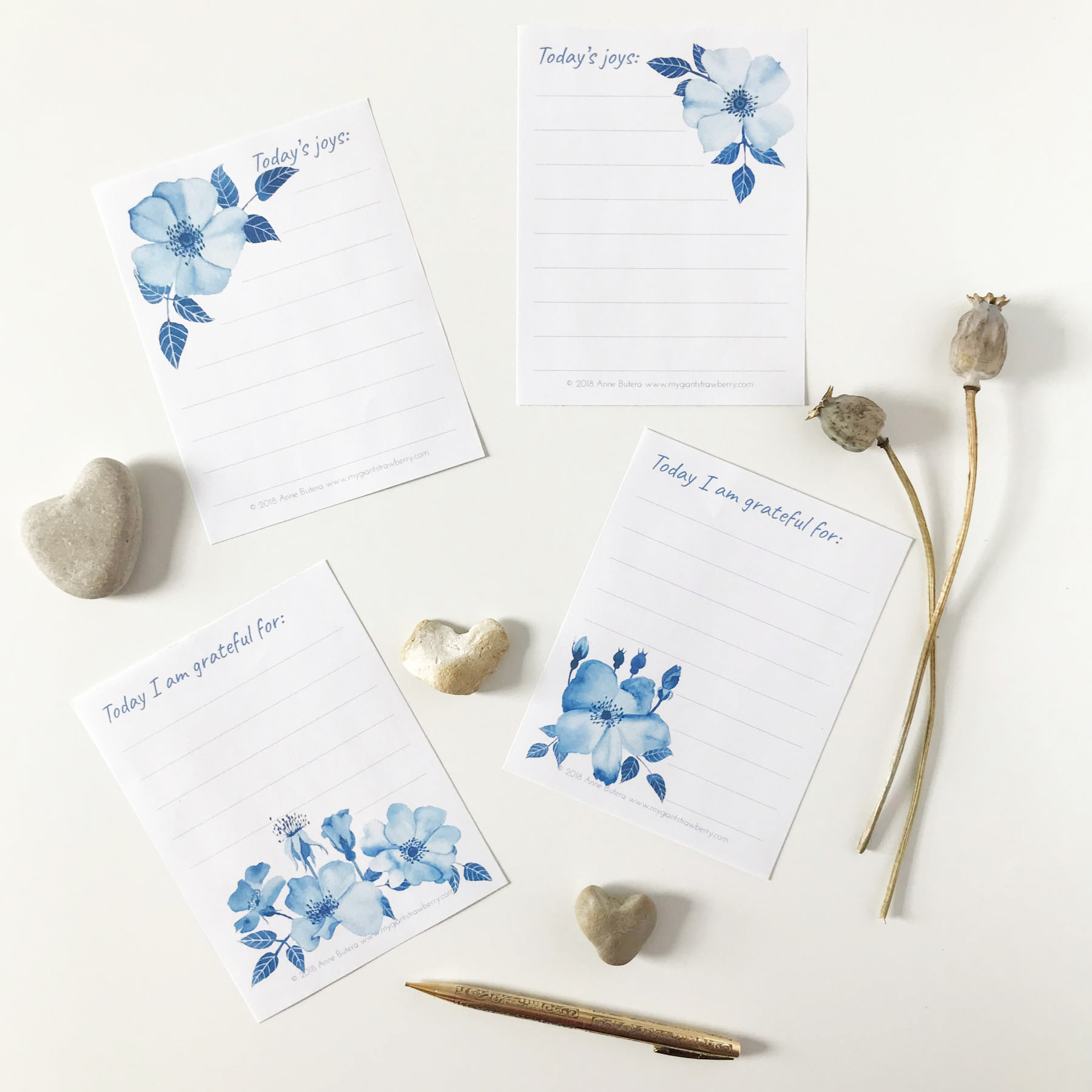 Blue Roses Joy and Gratitude Lists by Anne Butera of My Giant Strawberry