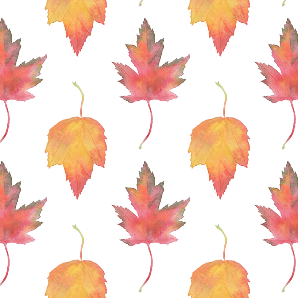 Maple Leaves Watercolor Fabric Design by Anne Butera