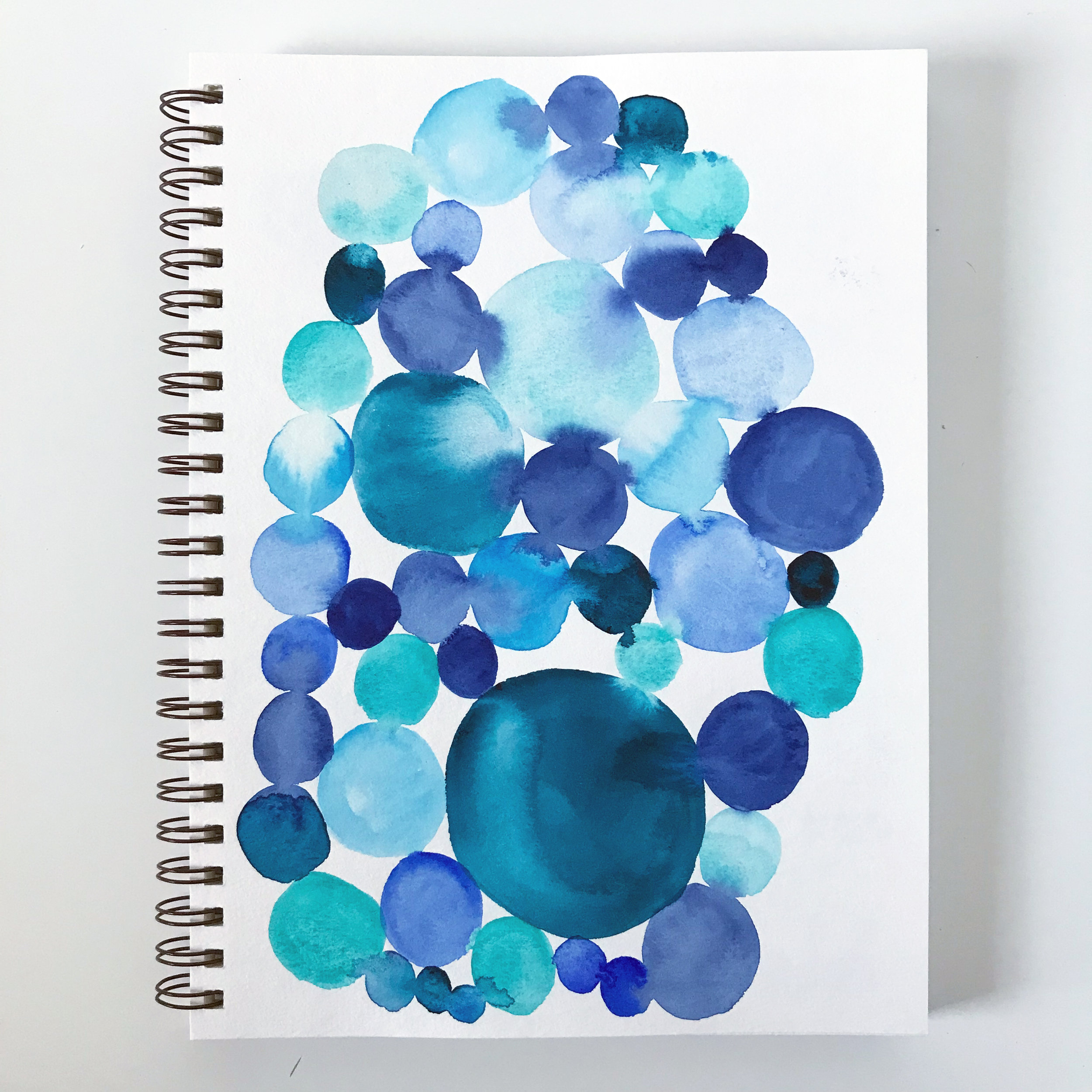 Blue Watercolor Color Play In My Color Themed Sketchbook by Anne Butera of My Giant Strawberry