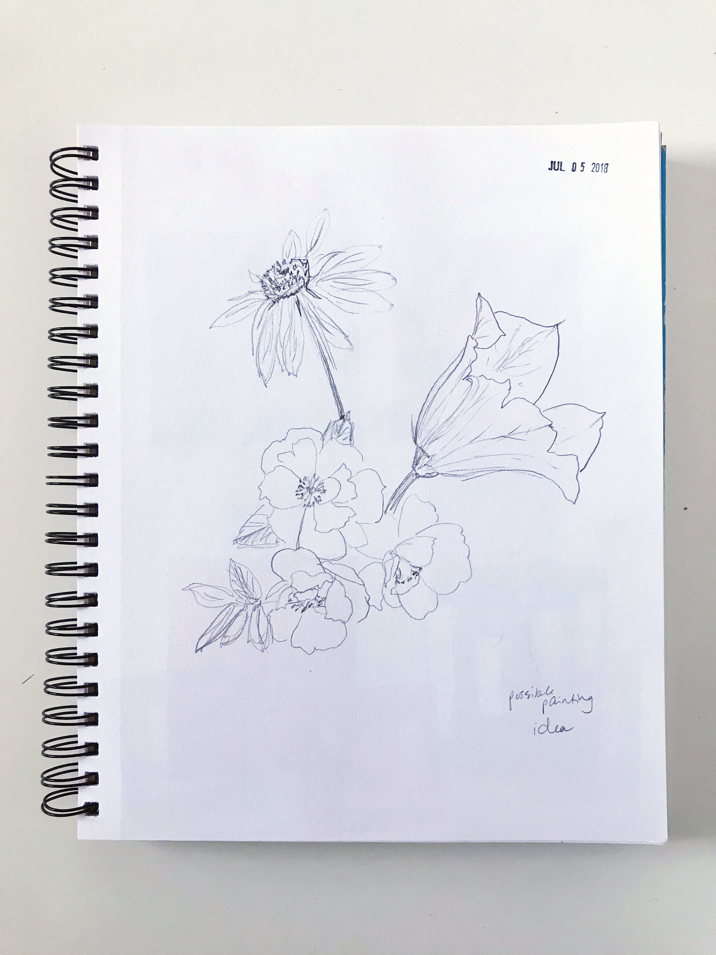 Sketching Out Possible Layouts for Paintings in My Sketchbook by Anne Butera of My Giant Strawberry
