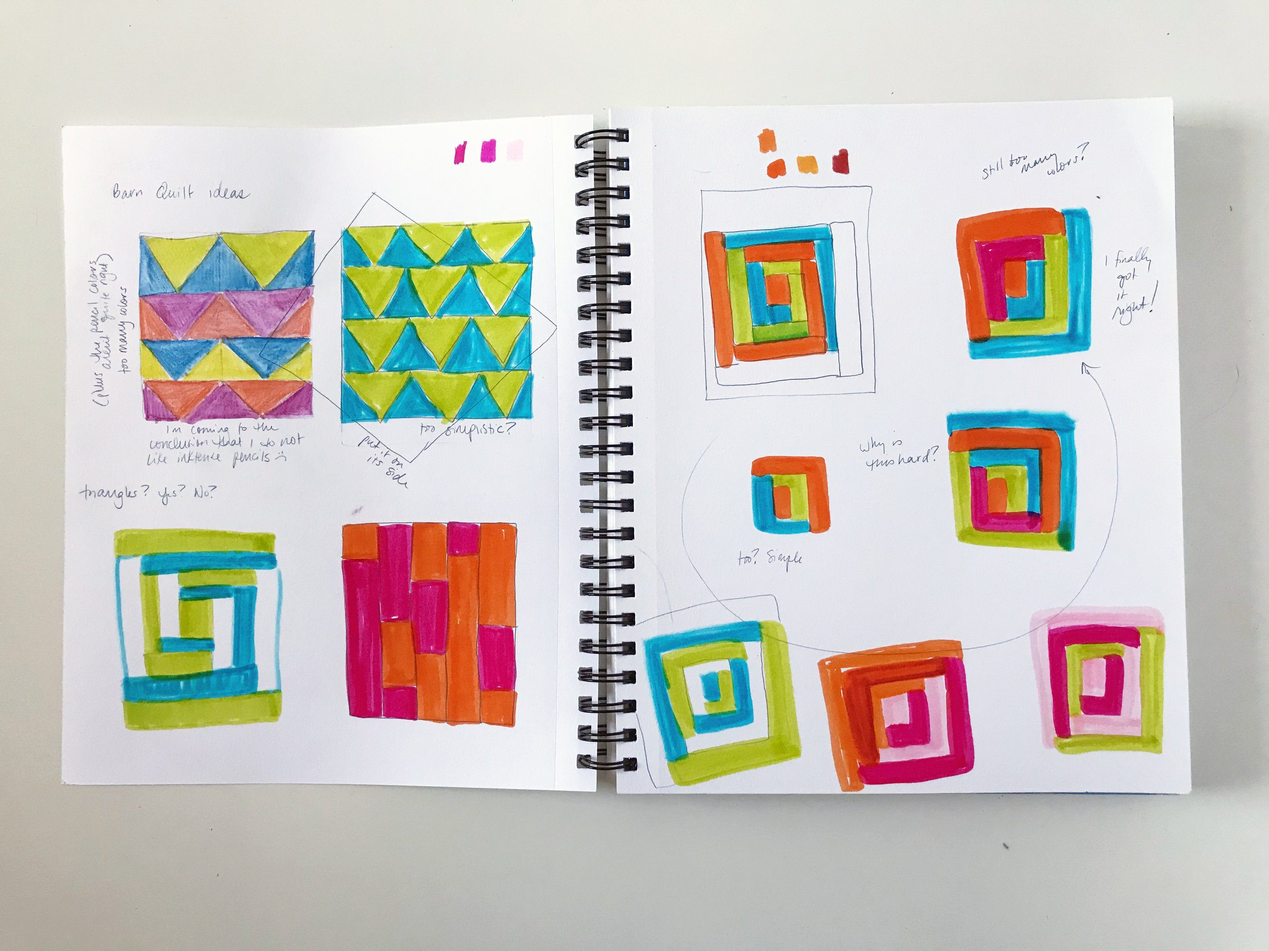 Using Markers to Brainstorm Barn Quilt Designs in My Sketchbook by Anne Butera of My Giant Strawberry