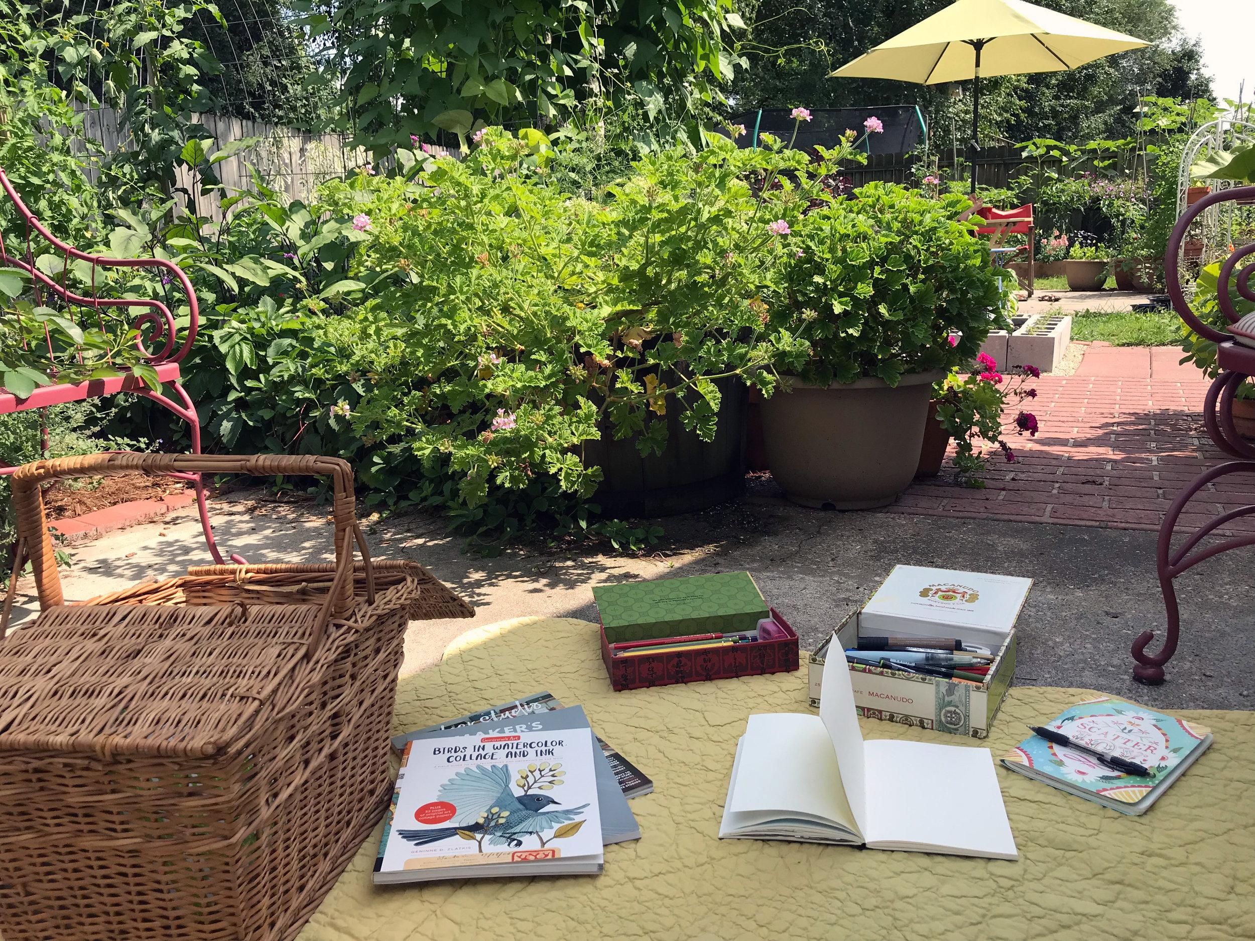 An Impromptu Outdoor Workspace in the Garden of Watercolor Artist Anne Butera