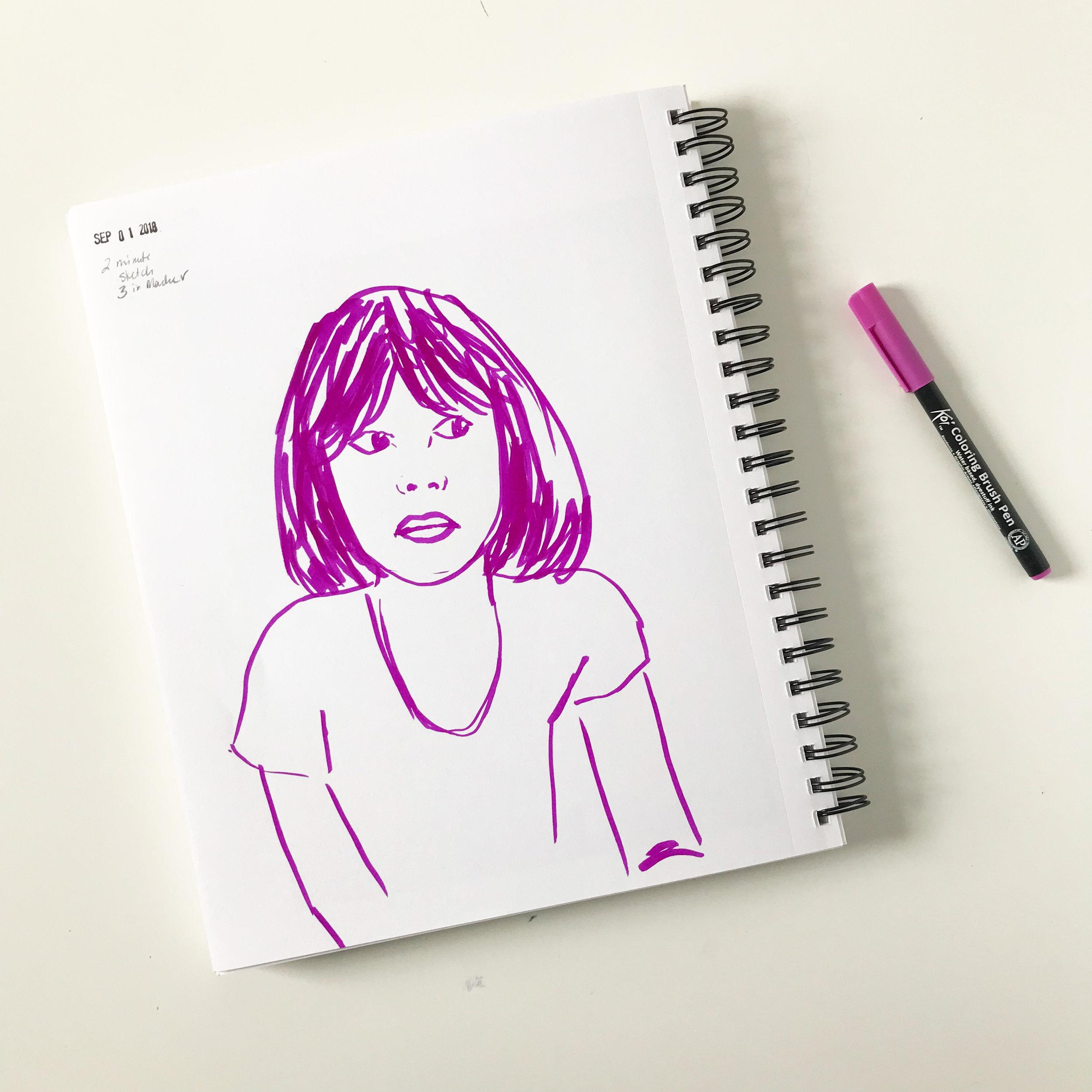 A 2 Minute Marker Sketch Portrait Created with Charlotte Hamilton's Creativebug Class