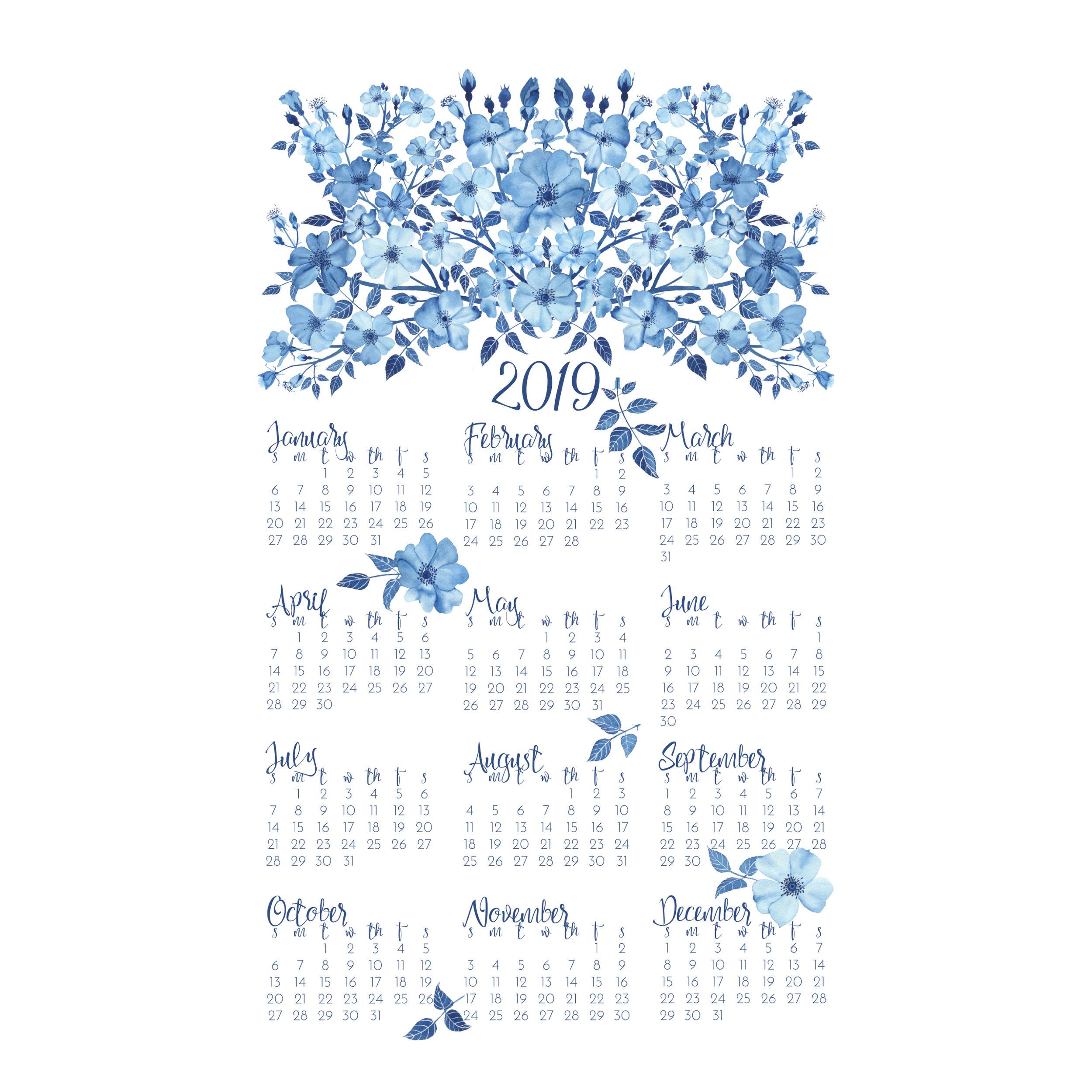 2019 Blue Roses Tea Towel Calendar design by Anne Butera