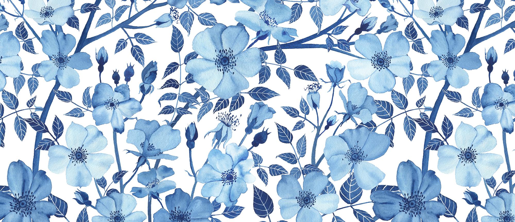 Watercolor Rose Garden in Blue