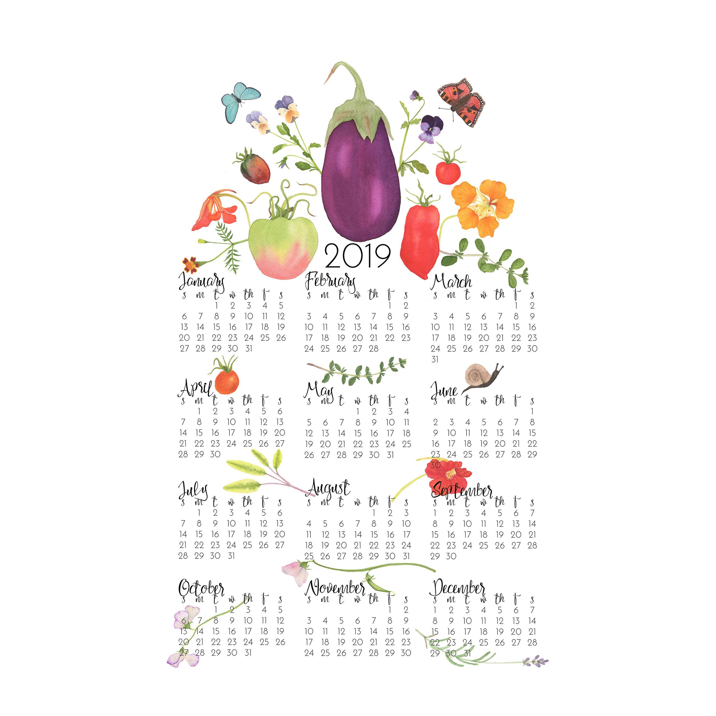 2019 Tea Towel Calendar In the Kitchen Garden design by Anne Butera