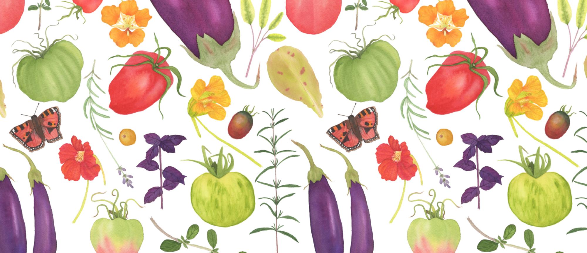 Watercolor Kitchen Garden Fabric Design by Anne Butera