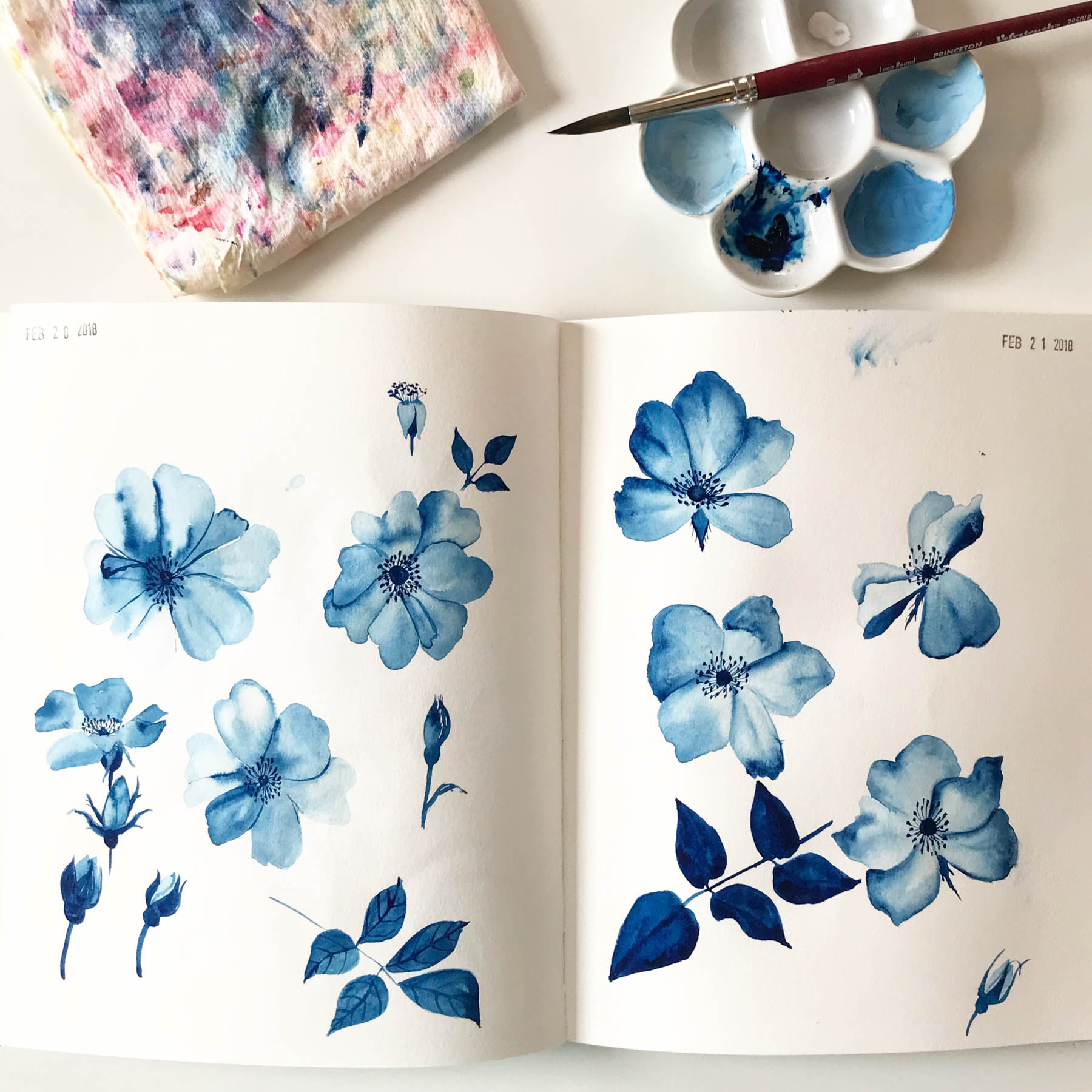 Prussian Blue Gouache Paintings in My Sketchbook Will Later Become Part of My Fabric Design
