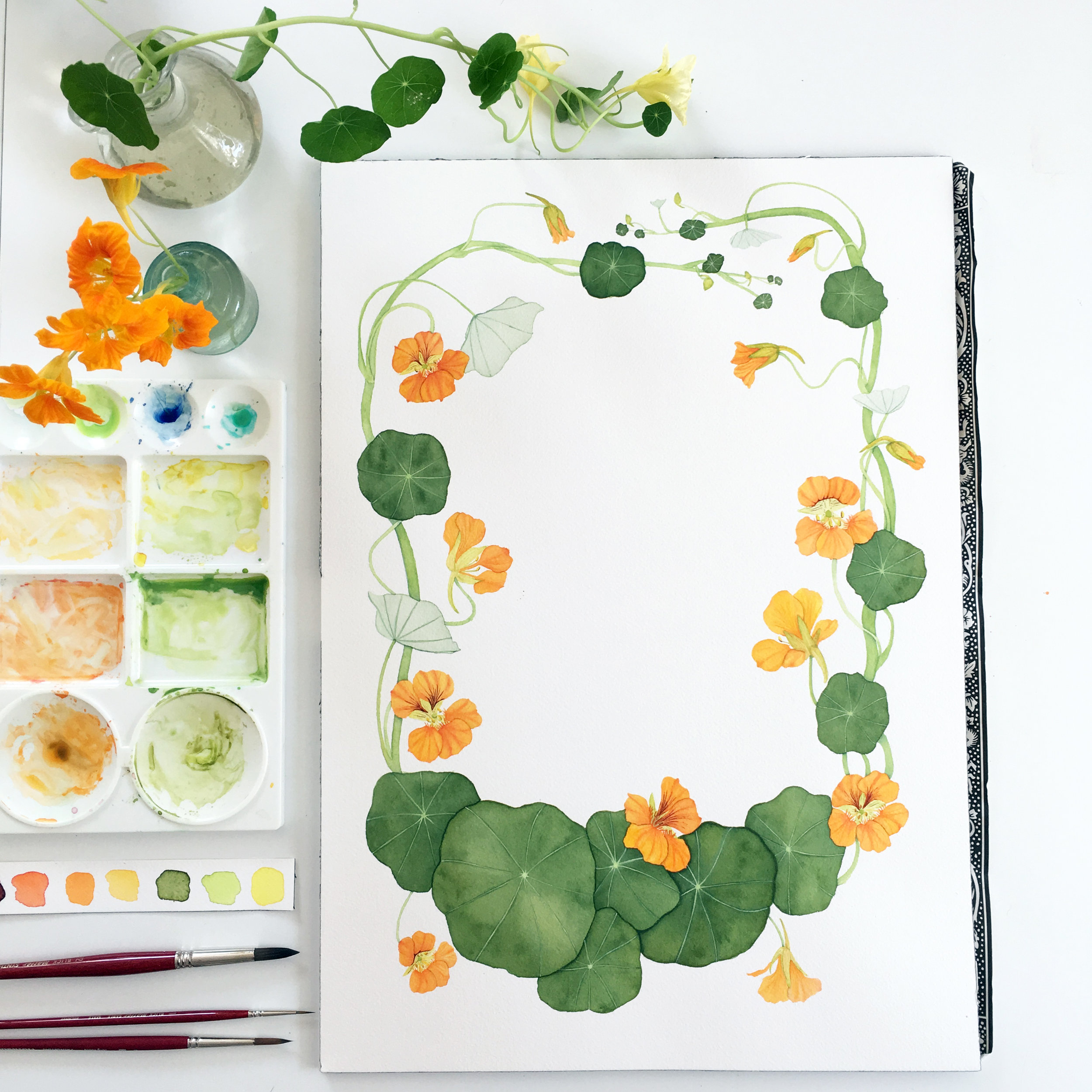 My Nasturtium Painting Created to Use in a Tea Towel Calendar Design by Anne Butera of My Giant Strawberry