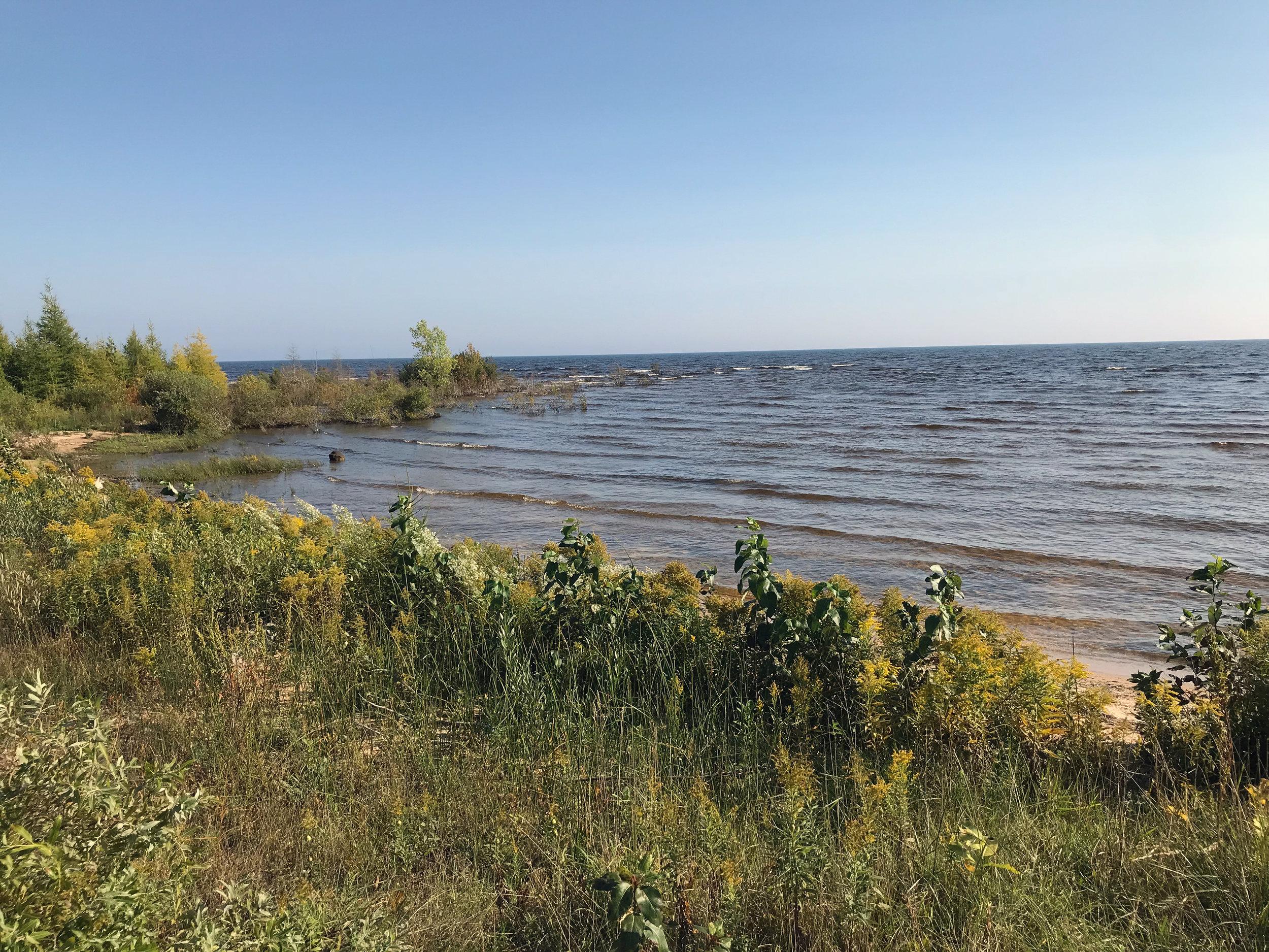 Upper Peninsula Lake Michigan Shoreline in Early Autumn
